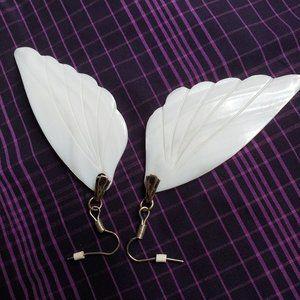 Angel wings lustrous seashell earrings